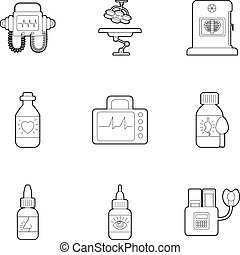 Clinic icons set, outline style - Clinic icons set. Outline...