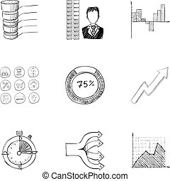 Office icons set, hand drawn style