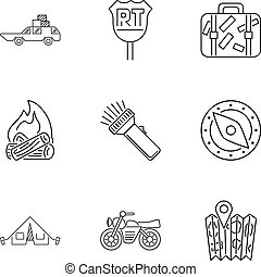 Campground icons set, outline style - Campground icons set....
