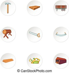 Cutting down trees icons set, cartoon style
