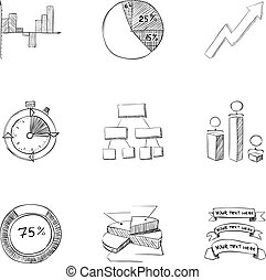 Business icons set, hand drawn style