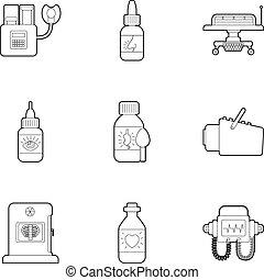 Diagnostic center icons set, outline style - Diagnostic...