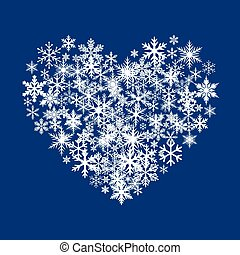 White Snow Heart on Blue Background. Vector Illustration