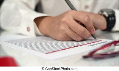 Businessman Writes Statistics - Businessman Fills Annual...