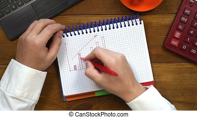 Man Drawing Chart - Trader Man Drawing Stock Chart In...