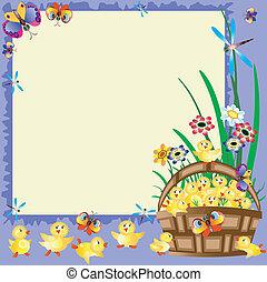 Frame with basket ,ducklings - Frame with basket...