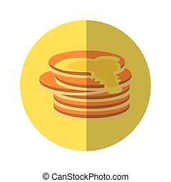 delicious pancakes maple syrup yellow pictogram
