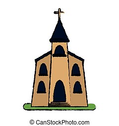 church building religious christian sketch vector...