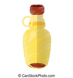 colored maple syrup bottle traditional vector illustration...