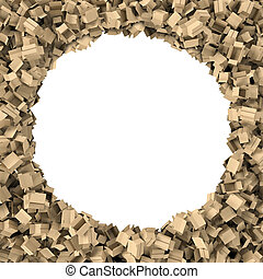 Rendering round frame made of light beige cardboard mail boxes lying at the edges with white empty space in the middle.