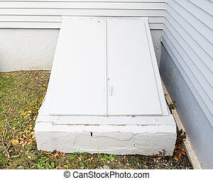 A basement bulkhead