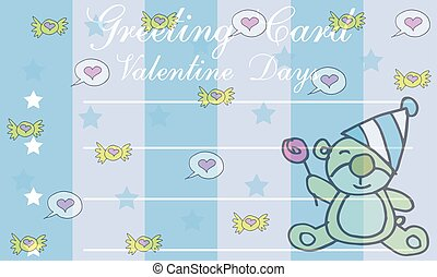 Greting card valentine with bear vector illustration
