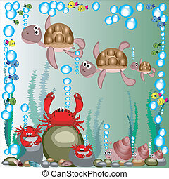 Sea animals - Marine life:cartoon with turtles ,mollusks and...