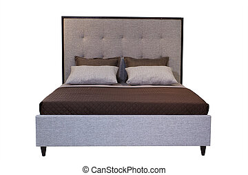 Double bed isolated over white - double bed isolated under...
