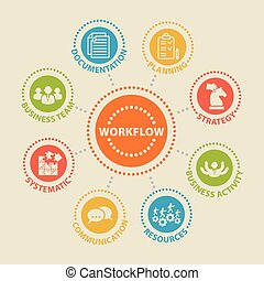 WORKFLOW. Concept with icons. - WORKFLOW. Concept with icons...