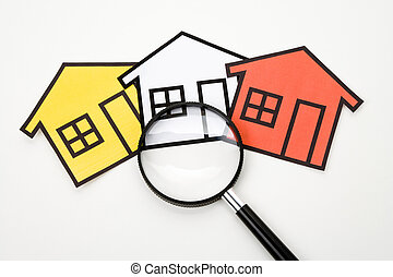 Real Estate Concept - home sign and Magnifying Glass , Real...