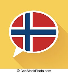 White speech bubble with Norway flag