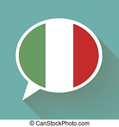 White speech bubble with Italian flag
