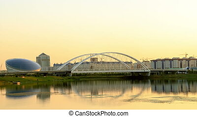 Bridge on the River Ishim, Sunset. Astana, Kazakhstan....