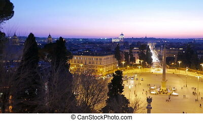 Piazza del Popolo. Evening, Panorama. Rome, Italy. UltraHD...