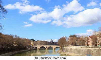 Bridge Sisto. Rome, Italy. Time Lapse. UltraHD (4K)
