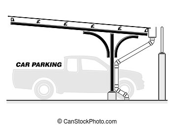 Car parking lot, roofing section vector illustration