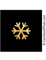 Gold snowflake vector icon isolated on black background.