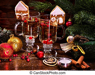 Beautiful Christmas still life with two glasses of hot...