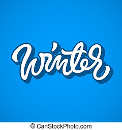 White Winter Calligraphy Lettering Badge - White winter...
