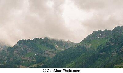 Mountainside in clouds. Spole. TimeLapse. Sochi, Russia