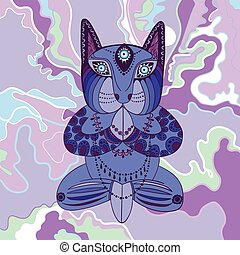 Blue cat sitting in the lotus position