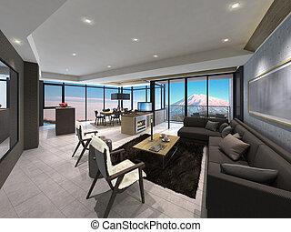 3D illustration of a modern living room
