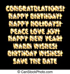 Holiday greetings written in gold letters. Vector...