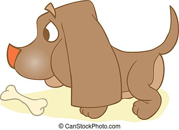 Puppi And Bone. Dog With Rawhide  Mouth Snack Reward.    Playful Food Symbol Outline Animal Character. Domestic Mammal Purebred Diet Nutrition.
