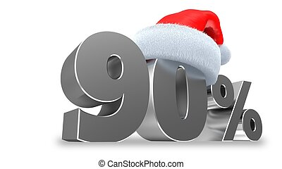 3d illustration of 90 discount over white background