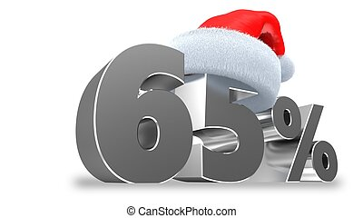 3d 6 - 3d illustration of 65 discount over white background