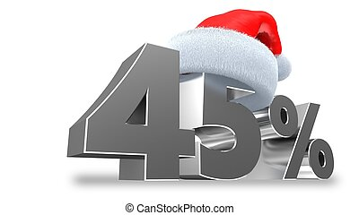 3d illustration of 45 discount over white background
