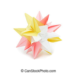 Origami: colorful paper star, isolated