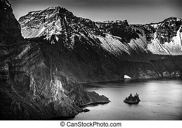 Phantom Ship Island Crater Lake Black and White Photography...