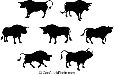 Detailed Bull Silhouettes - Bull cattle animal silhouettes