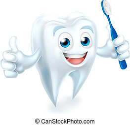 Tooth with Brush Dental Mascot