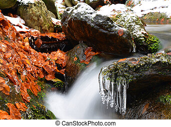 Winter creek with icicles in the national park Sumava,Czech...