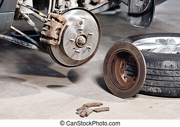 brake disc. Replacement of the old to the new. Auto mechanic...