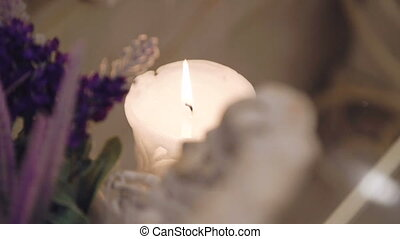 Aroma candle burning in light room. Full HD
