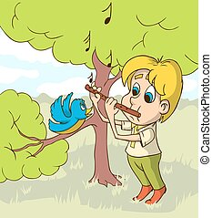 Happy Boy Playing On Flute a Glade. Vector illustration.