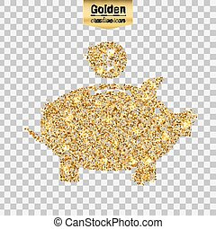 Vector gold icon - Gold glitter vector icon of piggy bank...