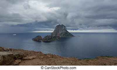 Dark clouds over The Magic Island, Es Vedra, Ibiza - Time...