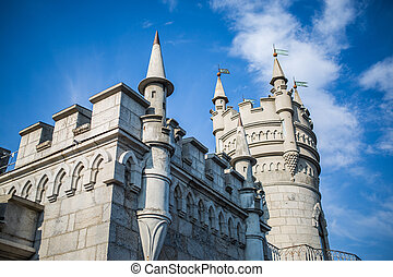 The decorative Neo-Gothic castle Swallow's Nest on the rock...
