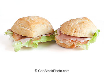 two jam and lettuce sandwhiches - loaf of bread with jam,...