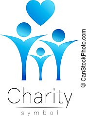 Vector illustration. Symbol of Charity.Sign people heart...
